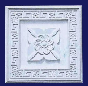 Flower Plaque With Floral Greek Key Border